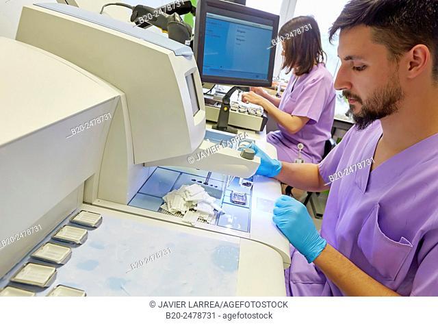 Technicians preparing samples, Histology, Anatomic Pathology, Hospital Donostia, San Sebastian, Basque Country, Spain
