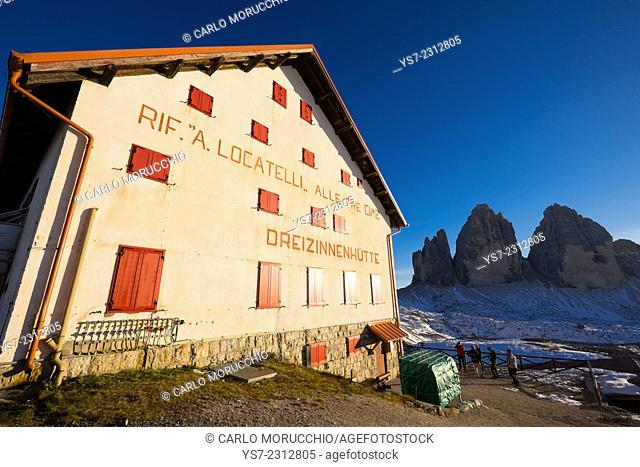 Locatelli refuge on the trail around Tre Cime di Lavaredo, Sesto, Bolzano, Italy, Europe