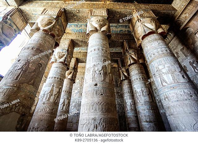 Dendera temple of Hathor goddess. Upper Egypt
