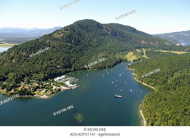 Aerial photo of Genoa Bay and Genoa Bay Marina, Vancouver Island, British Columbia, Canada