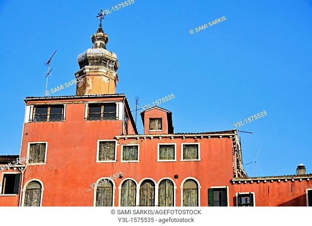 Buildings and church tower, Rialto district, Venice, Italy