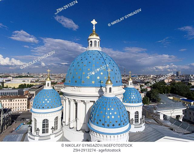 Troitsky cathedral from the height of the bird's flight. Saint Petersburg. Russia.