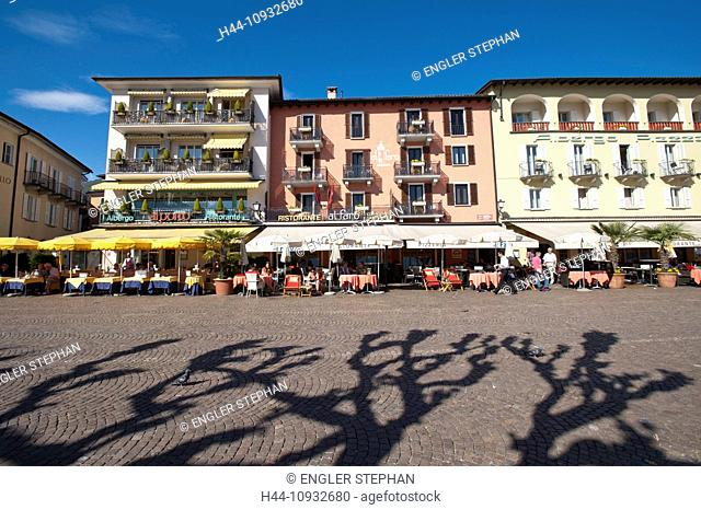 Switzerland, Europe, Ticino, Ascona, Lago Maggiore, lake, Quai, trees, tourism