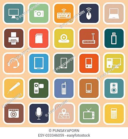 Gadget flat icons on orange background, stock vector
