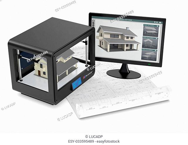 professional 3d printer that builds a house, a pc monitor with cad application and an architectural blueprint (3d render)