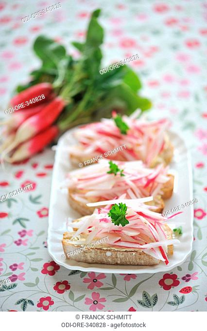 Radish and salted butter toasts
