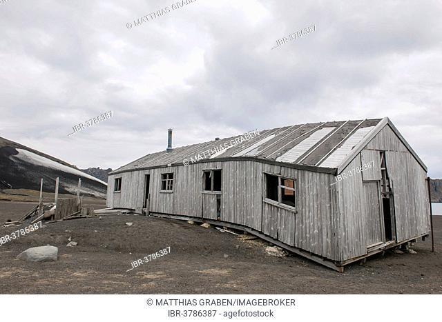 The dilapidated research station, Deception Island, South Shetland Islands, Antarctic Peninsula, Antarctica