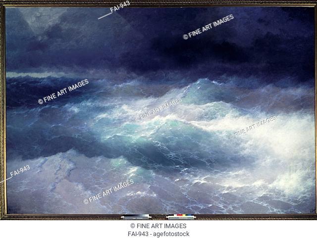Among the Waves. Aivazovsky, Ivan Konstantinovich (1817-1900). Oil on canvas. Romanticism. 1898. I. Ayvasovsky National Art Gallery, Feodosiya