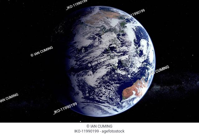 Digitally manipulated image of the Indian Ocean and Australia from space over the Equator
