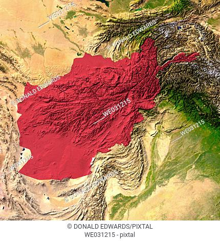 Highlighted satellite image of Afghanistan