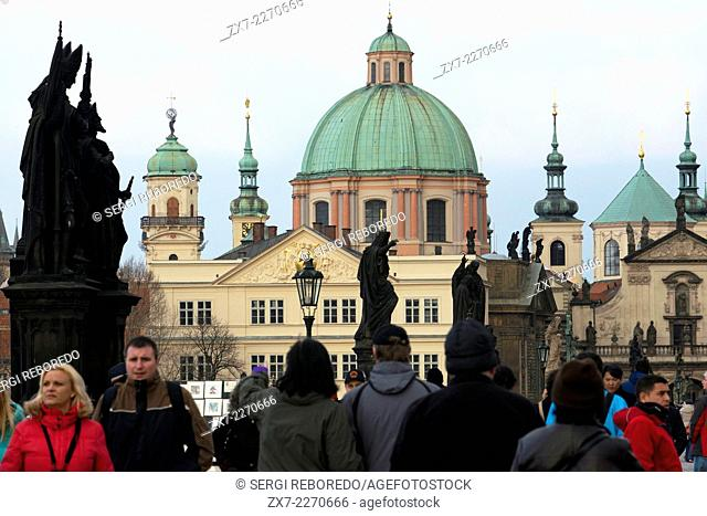 Views of the Church of St. Nicholas from the Charles Bridge