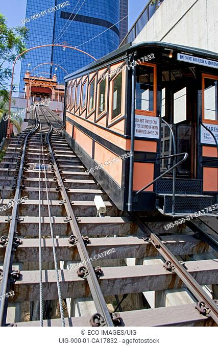 Funicular Railway runs between Hill Street and California Plaza, Bunker Hill, downtown Los Angeles, California, USA