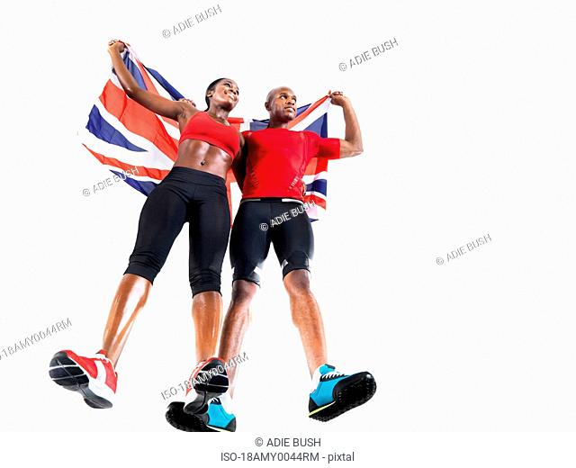 Athletes celebrating with Union Jack