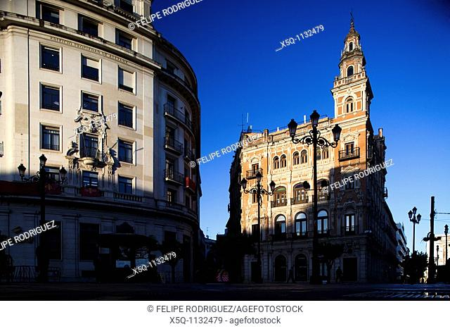 Allianz left and Telefonica right buildings, Seville, Spain