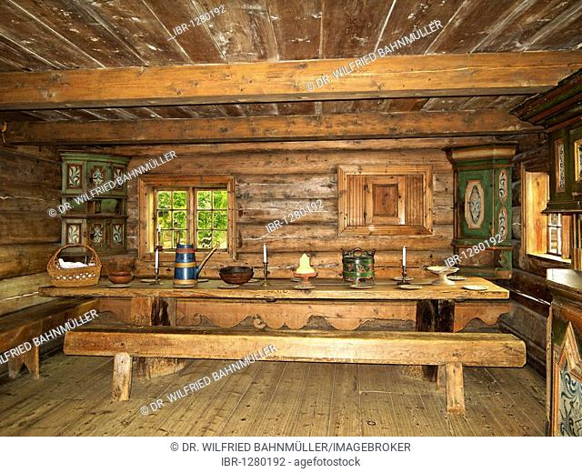 Sitting room, Deti-house from 1817, open air museum Trondelag, Sverresborg, Trondheim, Norway, Scandinavia, Europe