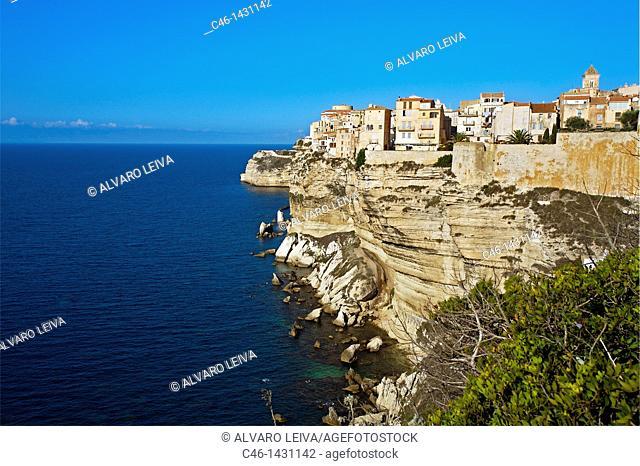 La Haute Ville the Upper city, Bonifacio, Corsica Island  France
