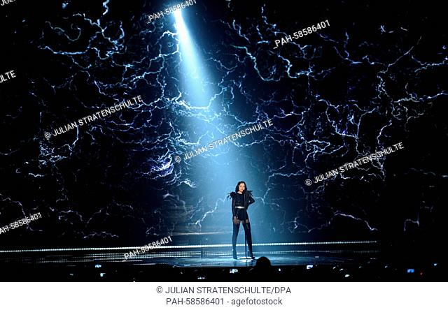 Singer Nina Sublatti representing Georgia performs during the rehearsal for the grand final of the Eurovision Song Contest 2015 in Vienna, Austria, 22 May 2015