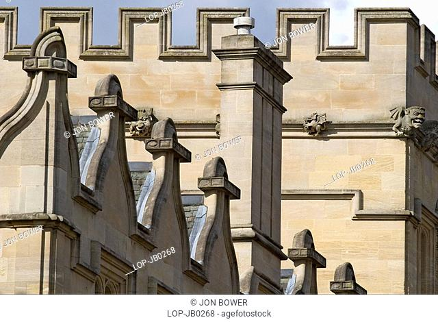 England, Oxfordshire, Oxford, Architectural detail, University College Oxford. It was founded by William of Durham in 1249