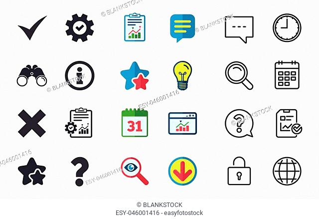 Information icons. Delete and question FAQ mark signs. Approved check mark symbol. Chat, Report and Calendar signs. Stars, Statistics and Download icons