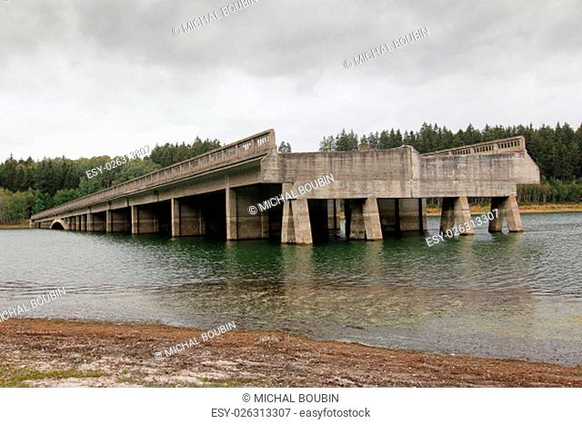 Unfinished highway bridges at the water reservoir Svihov..Construction of bridges was started at 1939 but at 1950 was by communist regime the construction of...
