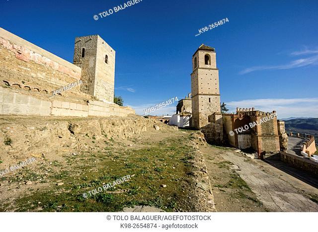 Castillo de Ã. lora, recinto amurallado, siglo X, Cerro de Las Torres. monumento nacional , Ã. lora, Malaga, Andalucia, Spain