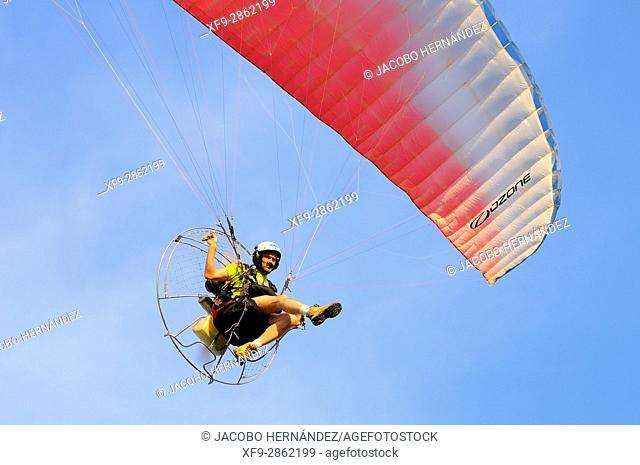Paraglide.Olivenza.Badajoz province.Extremadura.Spain