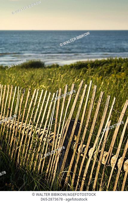 USA, Massachusetts, Cape Cod, Eastham, Nauset Light Beach, sand fence