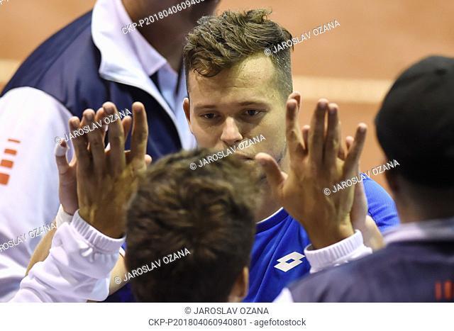 Adam Pavlasek of Czech Republic celebrates after the winning the 2nd round of Europe/Africa Zone of Tennis Davis Cup match: Czech Republic vs Israel