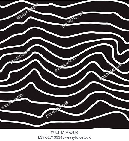 Universal seamless linear striped wave abstract pattern in black and white. Simple classical background, lines with the same interval