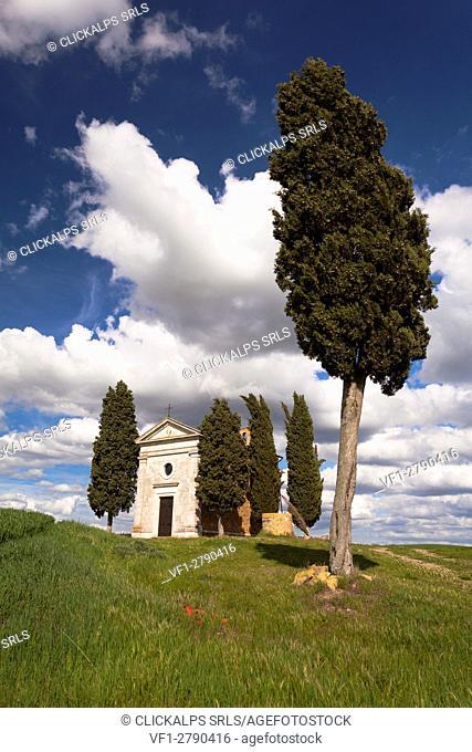 Vitaleta chapel, Pienza, Orcia valley, Tuscany, Italy
