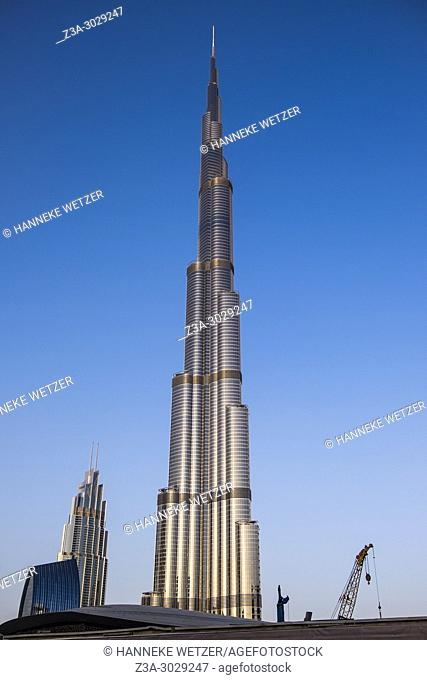 Construction site around the Burj Khalifa in Dubai, highest building of the world