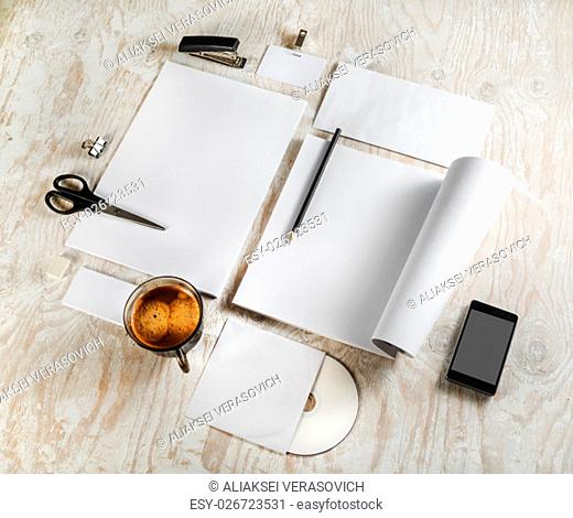 Identity template on light wooden background. Blank stationery set. For design presentations and portfolios. Top view