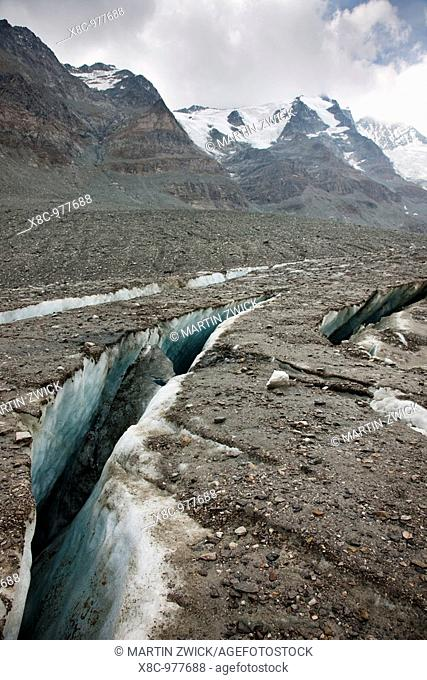 Radial crevasses of the glacier Pasterze near Grossglockner  the radial crevasse are the first signs of the collapsing of another glacier area and the forming...