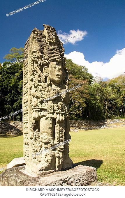 Stela A (AD 731), Copan archaeological park, Copan Ruinas, Honduras