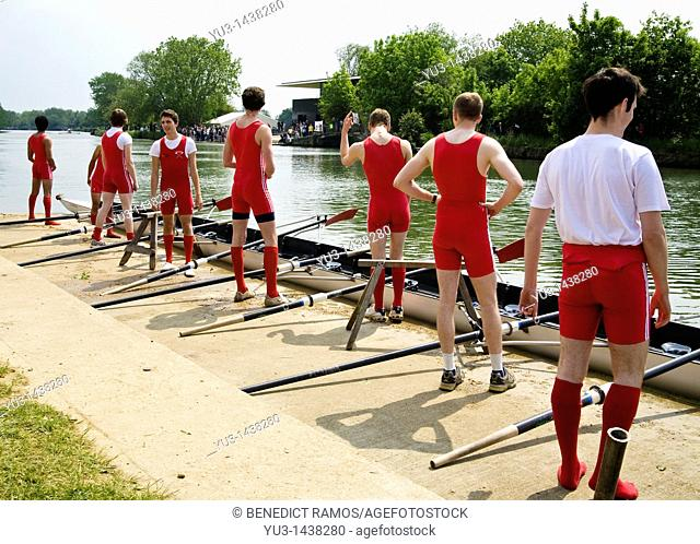 Student rowers before race during the annual Oxford University Eights Week rowing competition, Oxford, England, UK