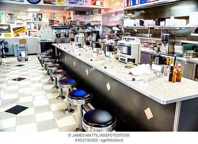 Interior of Mel's Diner. made famous in the movie American Graffitti, captures the nostalgia of the 1950's rock and rollculture