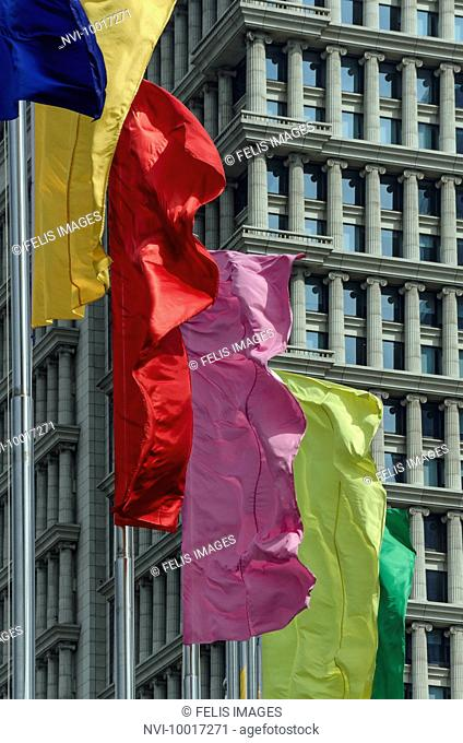 Colorful flags in front of building, Pudong, Shanghai, China