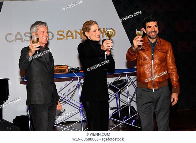 68th Annual Sanremo Music Festival - Press party Featuring: Michelle Hunziker, Pierfrancesco Favino, Claudio Baglioni Where: Sanremo