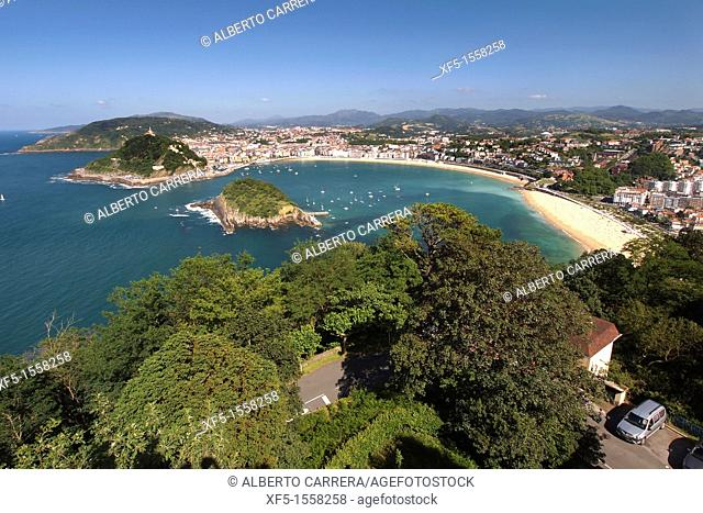 La Concha Bay, Urgull Mount, Santa Clara Island from Igueldo Mount, San Sebastián, Donostia, Guipuzcoa, Basque Country, Spain