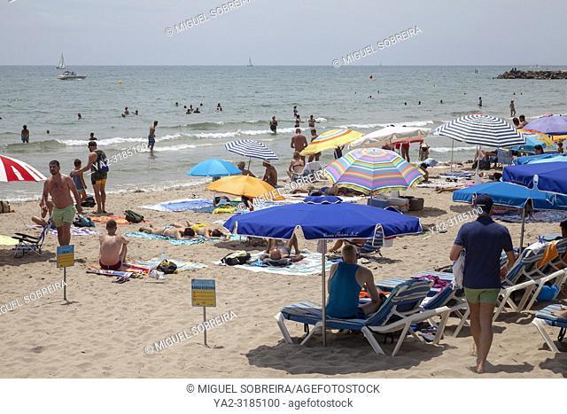Bassa Redona Beach in Sitges, Spain