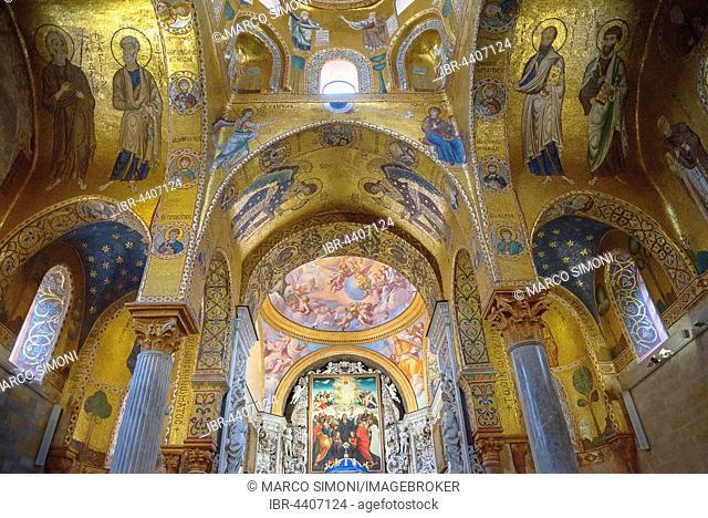 Painted vault, La Martorana Church, Palermo, Sicily, Italy