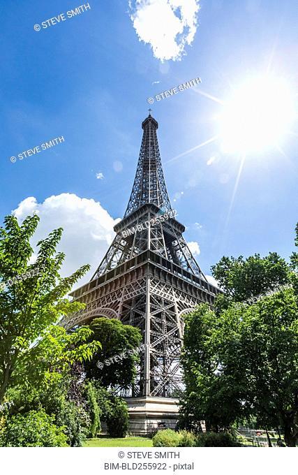 Sunbeams on Eiffel Tower, Paris, Ile de France, France