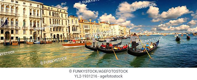 Panoramic of Gondolas on the Grand Canal, Venice, Italy