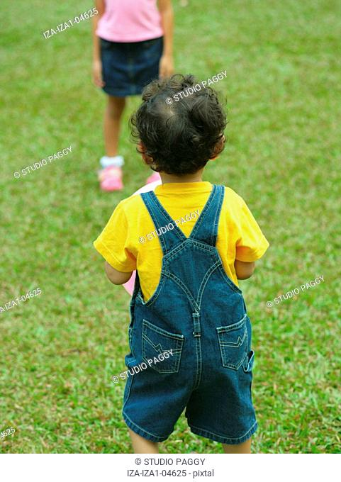 Rear view of a boy and his sister standing on the lawn