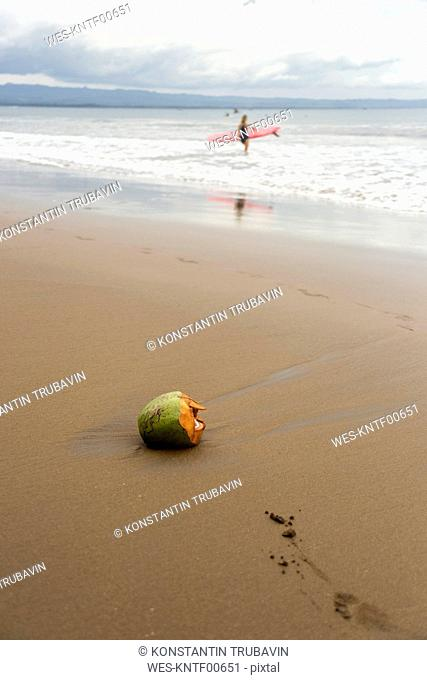 Indonesia, Java, coconut and woman with surfboard on the beach