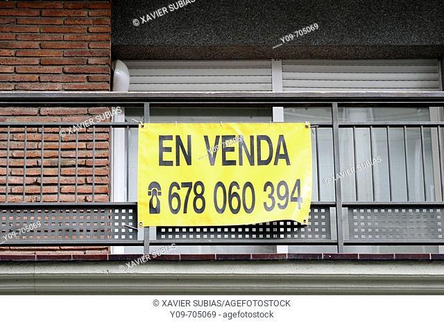 For sale sign on balcony. Barcelona. Spain