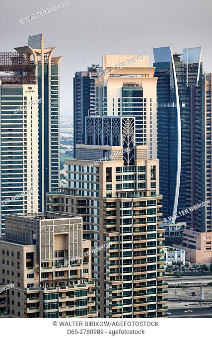 UAE, Dubai, Dubai Marina, elevated view of the marina, dusk
