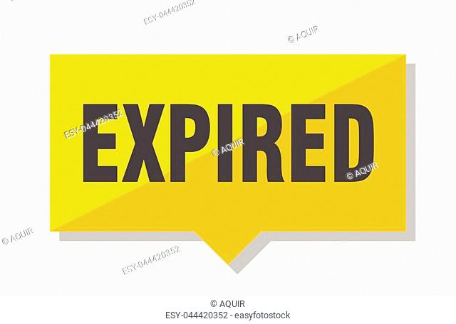 expired yellow square price tag