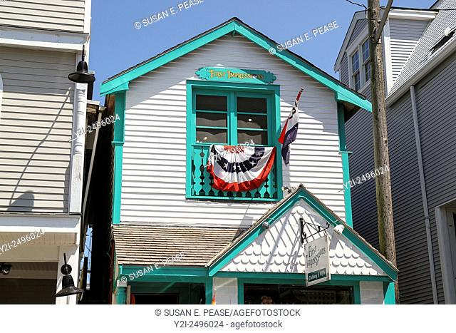 A brightly-trimmed building in downtown Oak Bluffs, Martha's Vineyard, Massachusetts, United States