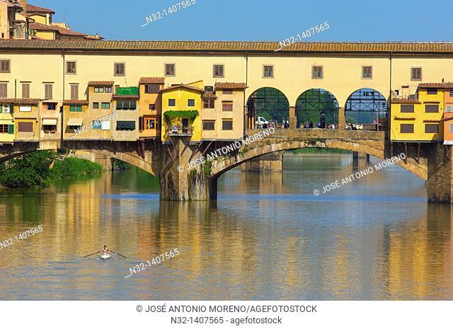 Florence, Ponte Vecchio, Arno River, Tuscany, Italy